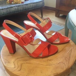 J.Crew coral red patent leather sandals.